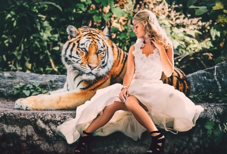Beauty and the Beast - dress, girl, model, tiger, tigru, woman, white, animal, beauty and the beast