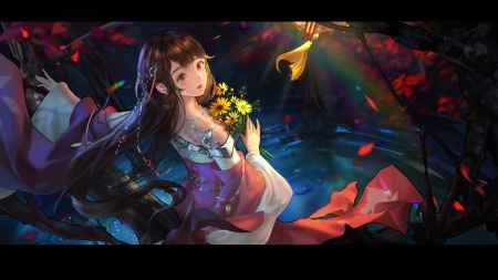 Can't take my eyes off you - anime, red, chon d, girl, flower, manga, kimono, blue