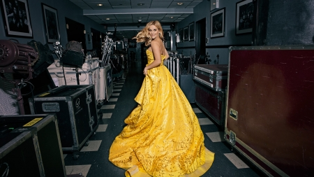 Backstage with Reese - 1920x1080, gown, blond, musical instruments, hallway, yellow, smile