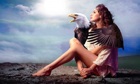 ~My Protector~ - femininity, eagle, birds, woman, lady, unearthly, protection, Lovely, Regal, brunette, Beauty