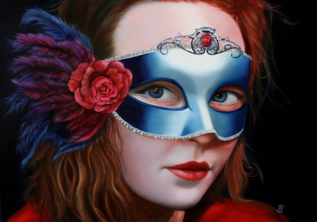 Girl with mask - painting, portrait, pictura, blue, art, red, rose, masquerade, girl, feather, flower, mask