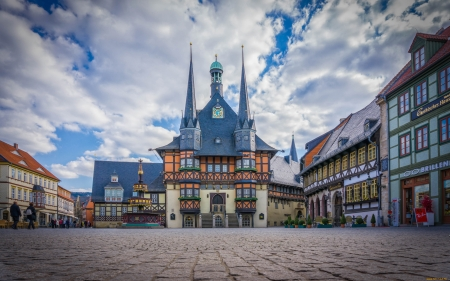 Wernigorode, Germany - germany, square, houses, town, clouds