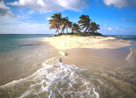 Golden Sands - Sands, Island, Sea, Palmtree, Clouds, Paradise, Waves
