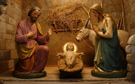 Nativity Scene - Mary, Jesus, sculptures, Baby, Joseph, Nativity, manger