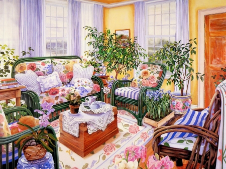 Floral Design - room, sofa, armchairs, plants, painting, flowers