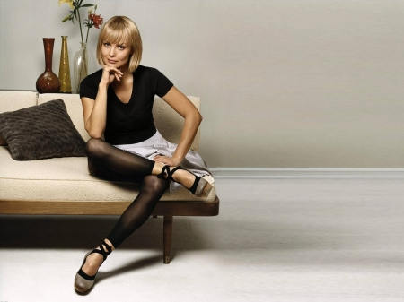 Izabella Scorupco - beautiful, model, skirt, blouse, Izabella, leggings, Scorupco, actress, wallpaper, 2020, hot, Izabella Scorupco, sofa, shoes