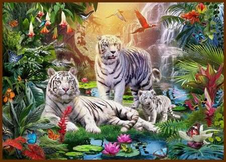 White Tigers - family, painting, jungle, flowers, cubs, parrots, butterflies, artwork