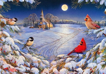 God's Country Night - tree, moon, snow, birds, church, winter, artwork, cardinals, chickadees, painting