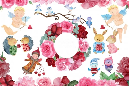 Happy Valentine's Day! - red, art, wreath, rose, valentine, card, bird, hedgehog, cupid, flower, bunny, pink, watercolor, fairy