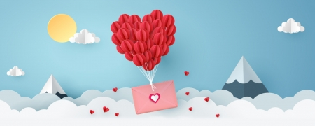 Happy Valentine's Day! - paper, valentine, card, blue, letter, red, cloud, balloon, heart, texture, pink, white