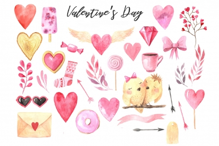 Happy Valentine's Day! - bird, texture, heart, paper, pink, letter, watercolor, pattern, valentine, card
