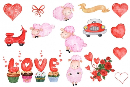 Happy Valentine's Day! - pink, card, word, pattern, red, valentine, sheep, balloon, heart, love, texture, paper