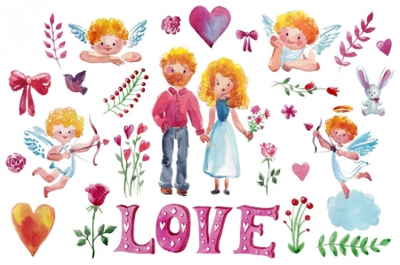 Happy Valentine's Day! - pattern, angel, word, card, love, cupid, heart, texture, paper, pink, watercolor, couple