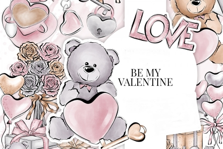 Happy Valentine's Day! - heart, texture, black, bear, paper, pink, card, pattern, love, flower