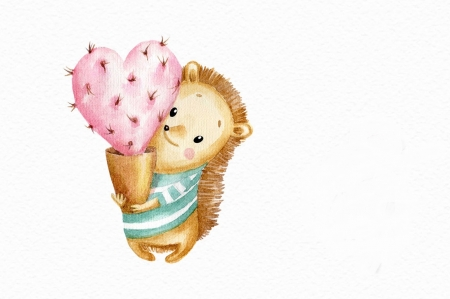 Happy Valentine's Day! - heart, arici, paper, valentine, pink, cactus, card, pattern, hedgehog, watercolor