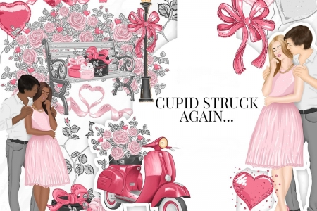 Happy Valentine's Day! - pink, card, couple, pattern, black, valentine, texture, love, people, heart, flower, paper
