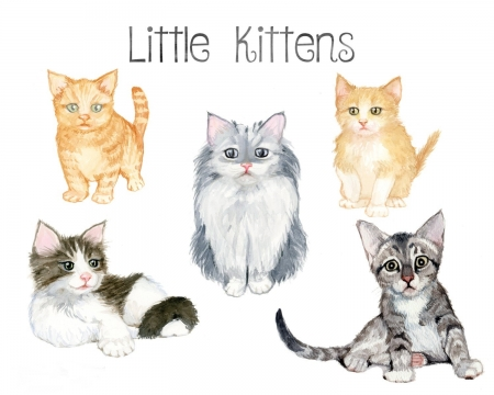 Kittens - texture, watercolor, pattern, paper, kitten, cat