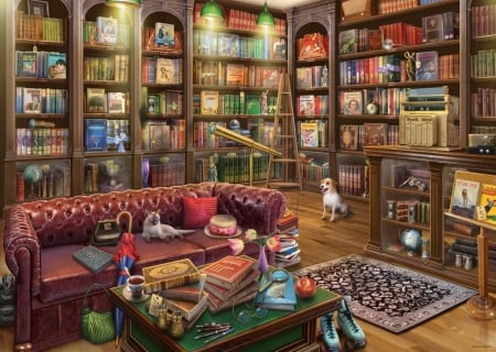 The Reading Room - reading room, art, library, caine, book, painting, cat, dog, pisici