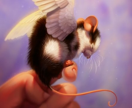 Humbug - creature, wings, brown, luminos, humbug, pixxus, sweet, cute, fantasy, purple, year of the rat, mouse, hand, soricel