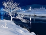 Magic nightfall over the river_Winter