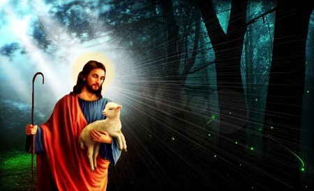 Jesus good shepherd - jesus, religion, gospel, shepherd, christ
