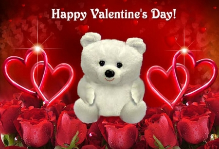 Happy Valentine´s day - red, rose, holiday, love, teddy, valentine
