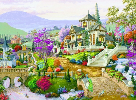 Hillside Retreat - house, bridge, painting, village, flowers, river, church, artwork, hills