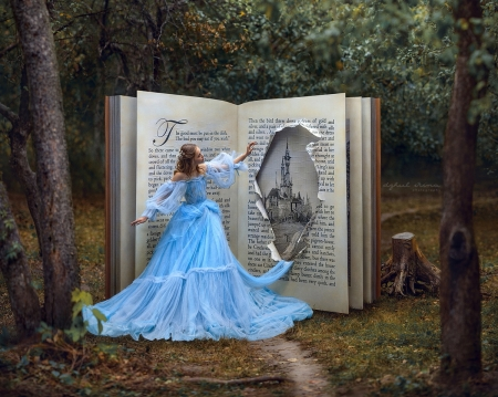 Book of time - book, story, castle, blue, forest, lovely, dreams, beautiful, abstract, tree, fantasy, girl