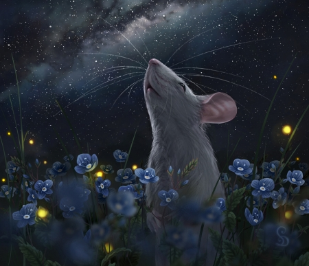 2020 ~ Year of the rat - fantasy, luminos, year of the rat, mouse, flower, love or death, night, stars, soricel, blue