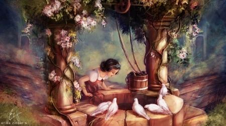 The Wishing Well - girl, snow white, erika zinser s, painting, wishing well, fantays, disney, art, bird, dove