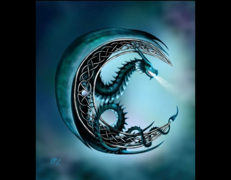 Celtic moonlight - art, moon, fantasy, wallpaper, celtic, abstract, digital art, dragon