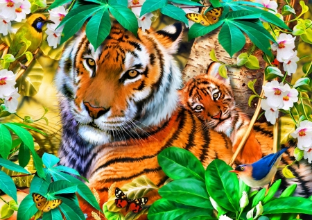 Into the shadows - bird, painting, tigers, cub, flowers, butterflies