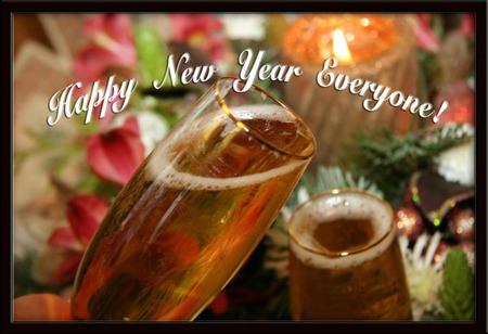 Happy New Year Everyone! - holiday, drinks, celebration, toast, glasses, new year, happy new year, toasting, champagne, celebrate