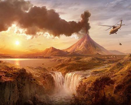 Fantasy wall - volcano, world, fantasy, heli