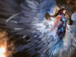 Warrior Angel in colorful dress