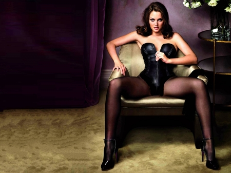 Leighton Meester - legs, model, Leighton Meester, beautiful, heels, singer, stockings, leather, actress, Meester, pantyhose, wallpaper, 2020, Leighton, chair, corset, sexy