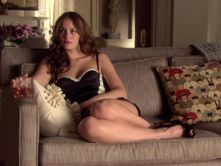 Leighton Meester - dress, legs, model, Leighton Meester, beautiful, sexy, singer, heels, actress, Meester, wallpaper, 2020, Leighton, drink, sofa