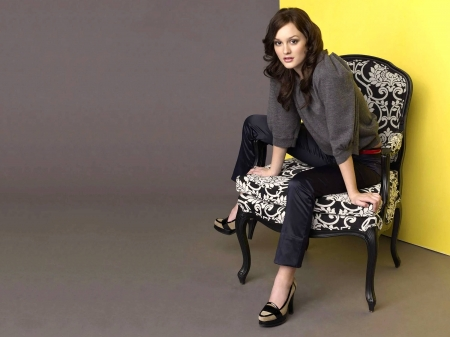Leighton Meester - model, Leighton Meester, beautiful, pants, singer, sweater, actress, Meester, wallpaper, 2020, hot, Leighton, chair, shoes