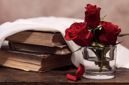 ♥ - flowers, roses, abstract, love, book