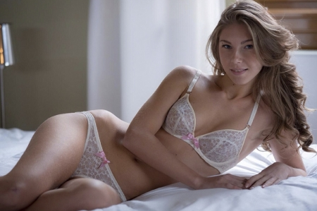 Anjelica Ebbi - white, bikini lingerie, posing on bed, sheers, window, blonde