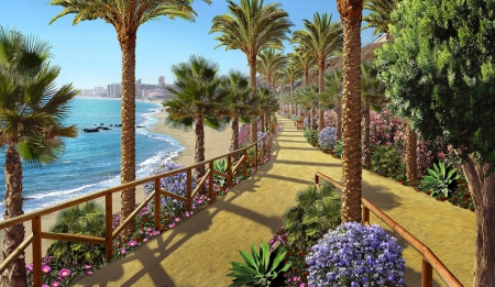 ♥ - sea, palm tree, art, vara, adrian chesterman, promenade, summer