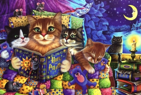 bedtime story - beautiful, paintings, cats, animals