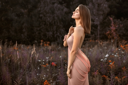 Elegantly Dresses to Match the Background - brunette, model, outdoors, gown, flowers