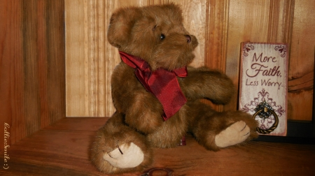 Teddy Bear Therapy - Frankenmuth, Michigan, brown, red ribbon, plaque, wall, Teddy Bear