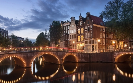 Amsterdam, Netherlands - lights, Netherlands, bridge, houses, river, Amsterdam, twilight