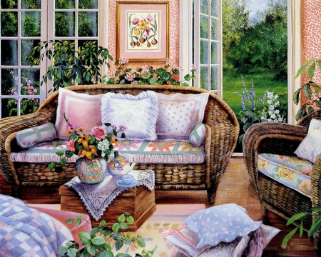 Cozy to live in - still life, table, garden, flowers, sofa, artwork, armchairs, door, painting