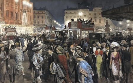 Piccadilly Circus - painting, man, piccadilly circus, woman, chevalier fortunino matania, pictura, art, watercoloor, people, gouache, paper