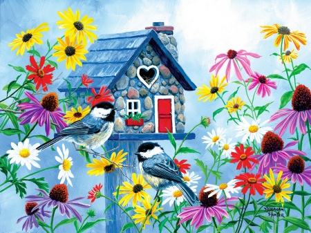 Tweet heart cottage - colorful, art, cottage, tweet, birds, beautiful, spring, fun, joy, freshness, gathering, heart, flowers, birdhouse