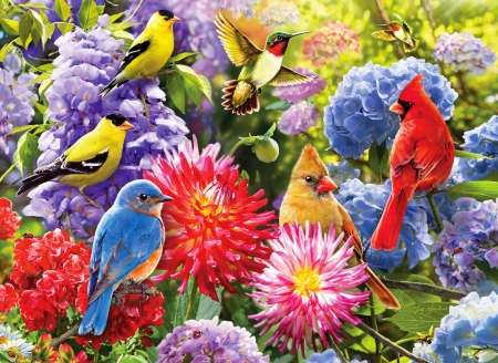 Spring meetup - garden, flowers, birds, fun, joy, freshness, art, spring, beautiful, cardinals, gathering