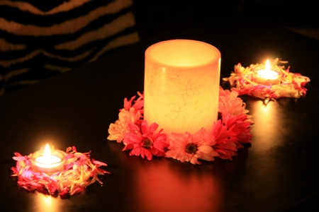 Candles And Flowers - Abstract, Flowers, Candles, Photography, Flames